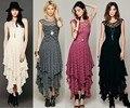 As Pessoas Hippie Boho Estilo Assimétrico Bordado Sheer lace Vestidos de Babados Em Camadas Duplas de Corte Baixo V-back (Sem forro)