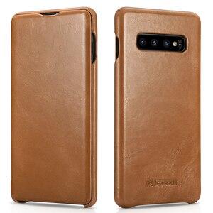 Image 4 - Mới Mỏng Da Bò Chính Hãng Da điện dành cho Samsung Galaxy Samsung Galaxy S10 Kinh Doanh Da Thật Thông Minh Điện Thoại dành cho Samsung S10 plus