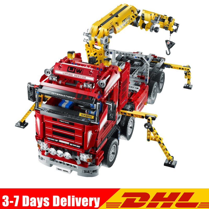 LEPIN 20013 1877Pcs Technic Series Crane Truck Wrecker Model Building Kits Blocks Bricks Toys Gift Compatible Legoings 8258 new lepin 20013 technic series 1877pcs the electric crane truck model building blocks bricks compatible 8258 toy christmas gift