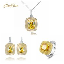 OneRain Vintage 100% 925 Sterling Silver Citrine Gemstone White Gold Drop Dangle Earrings Ring Necklace Jewelry Set Wholesale