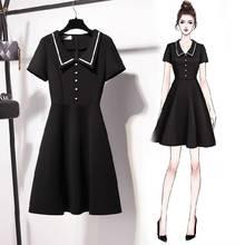 ICHOIX A-line elegant black dress S-3XL casual Plus size women