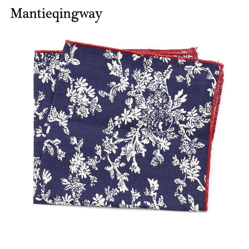 Mantieqingway Ladies Floral Handkerchiefs For Wedding Cotton Hanky Brand Korean Men's Suits Printing Pocket Square Towel Hankies