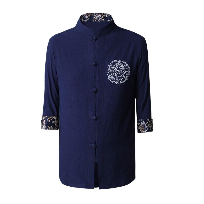 53441055d791dfa Высокое Качество Китайских людей Кунг Фу Рубашка Хлопок Белье Ву Шу одежда  Вышивка Тан Костюм Топы Ml XL XXL XXXL 2607 купить на