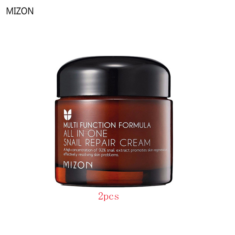 цена на MIZON All In One Snail Repair Cream 50ml 2PCS Snail Face Cream Anti Wrinkle Collagen Snail Serum Day Cream Facial Skin Care
