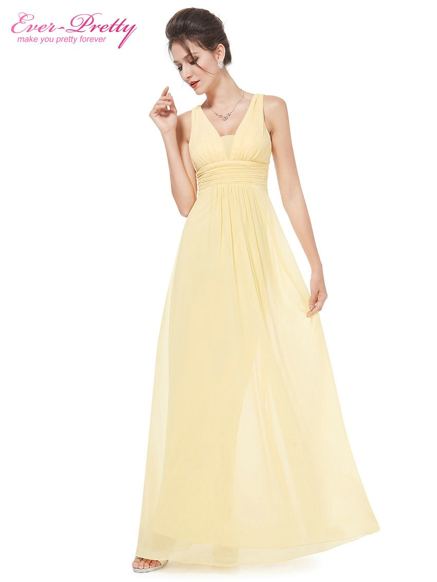 Dress code evening gown -  Clearance Sale Formal Evening Dresses Ever Pretty He08110 Yellow Sexy Lady Double V Neck Chiffon Evening Gown 2017