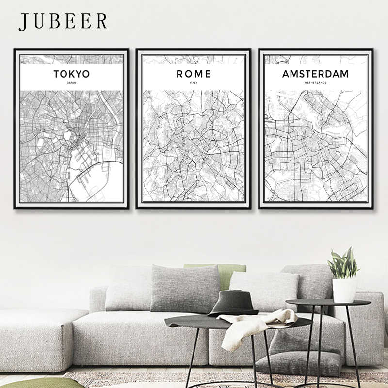London Paris New York Tokyo World City Map Posters Nordic Style Wall Art Canvas Picture Black And White Painting For Living Room Painting Calligraphy Aliexpress