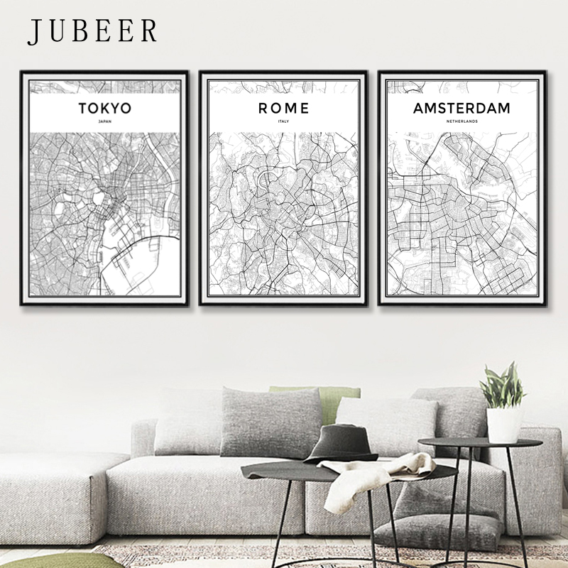 London Paris New York Tokyo World City Map Posters Nordic Style Wall Art Canvas Picture Black and White Painting for Living Room interior design