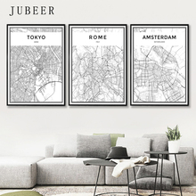 London Paris New York Tokyo World City Map Posters Nordic Style Wall Art Canvas Picture Black and White Painting for Living Room new paris style