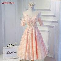 Розовые кружевные короткие коктейльные платья с рукавами Для женщин Мини Вечерние Коктейль Homecoming Платья для вечеринок