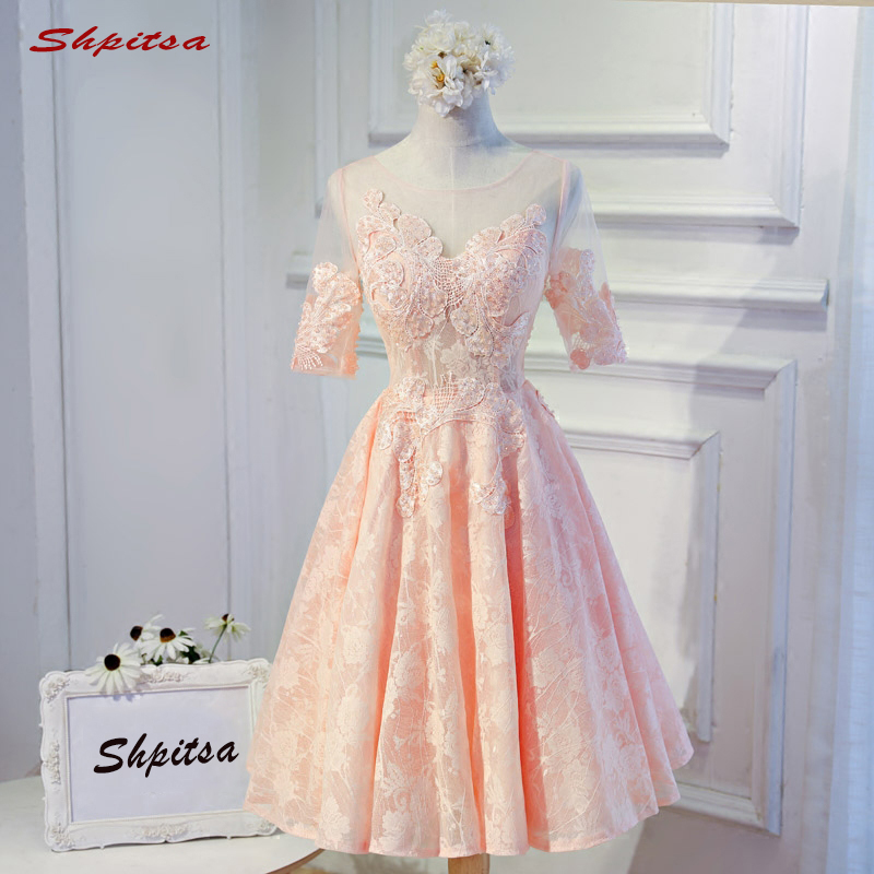 Pink Lace Short Cocktail Dresses with Sleeves Women Mini Evening Prom Coctail Homecoming Party Dresses