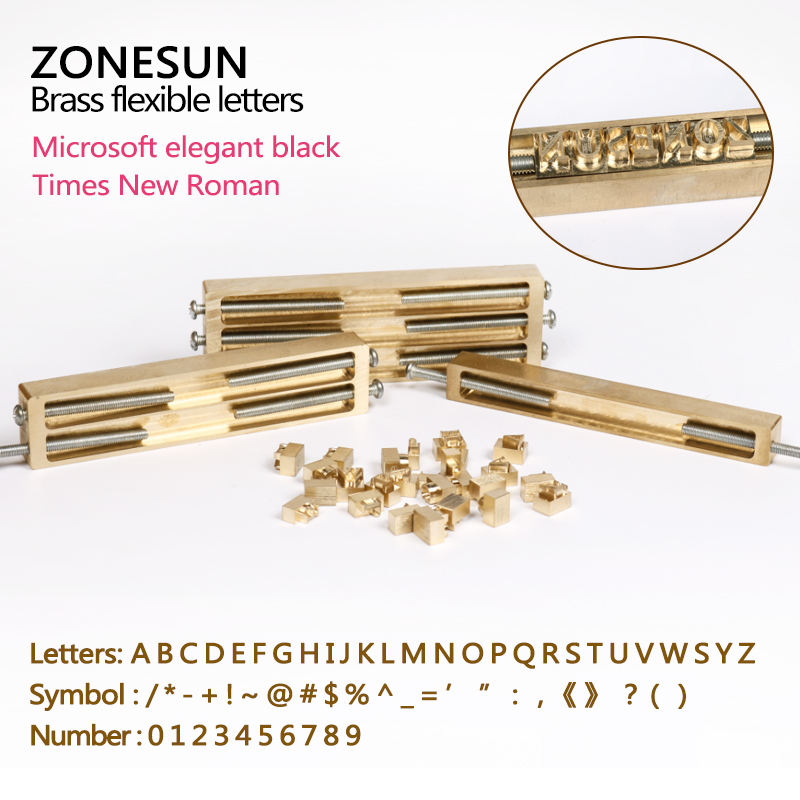 ZONESUN Brass Letters CNC Engraving Mold Hot Foil Stamp Number Alphabet Symbol Customized Font DIY Leather Stamp Mold Die Cut