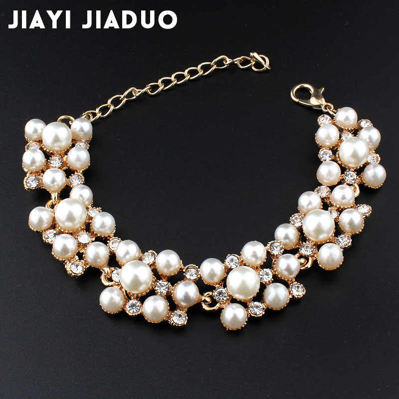 jiayijiaduo Simulation pearl bracelet ladies gold color link chain crystal bridal wedding jewelry bracelet and bracelet 805