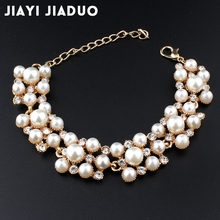 jiayijiaduo Simulation pearl bracelet ladies gold color link chain crystal bridal wedding jewelry bracelet and bracelet 805(China)