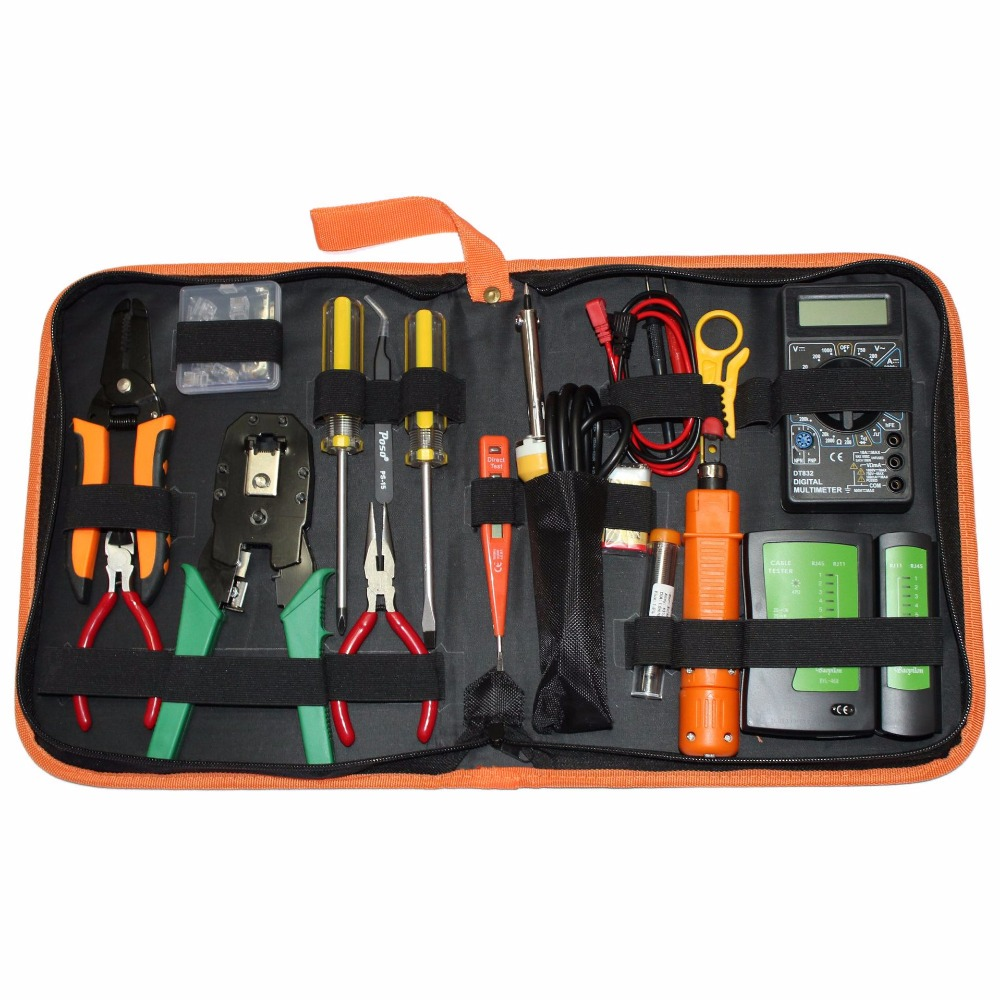 Network Repair Tool Combination Professional Tool Sets Test Pencil Network Cable Tester Electric Iron Wire Cutter pro skit taiwan bao mt 7062 hdmi cable measuring tester test