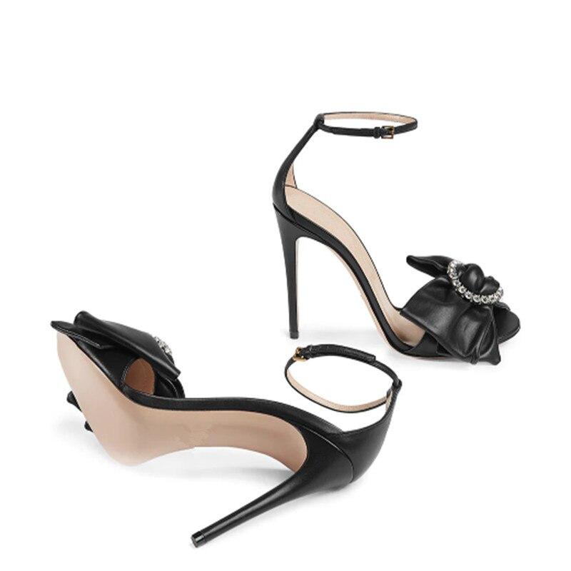 Bogen Diamanten High Designer Schnalle Stilvolle Marke Knöchel Schuhe Heels Frauen As Picture knoten Damen Sandalen Ring 2019 Peep Stiletto Toe axtYSwa