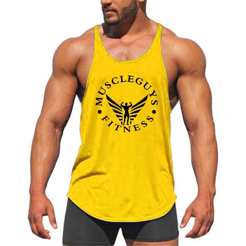Muscleguys Brand Fitness Clothing Bodybuilding Tank Top Men Gyms Stringer Singlet Cotton Sleeveless shirt Workout Man Undershirt 27