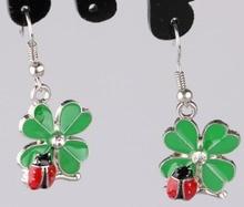 Vintage Design Silver Bijoux Ladybird Clover Drop Earrings For Women Fashion Jewelry Dangle Earrings Statement Earrings Girls