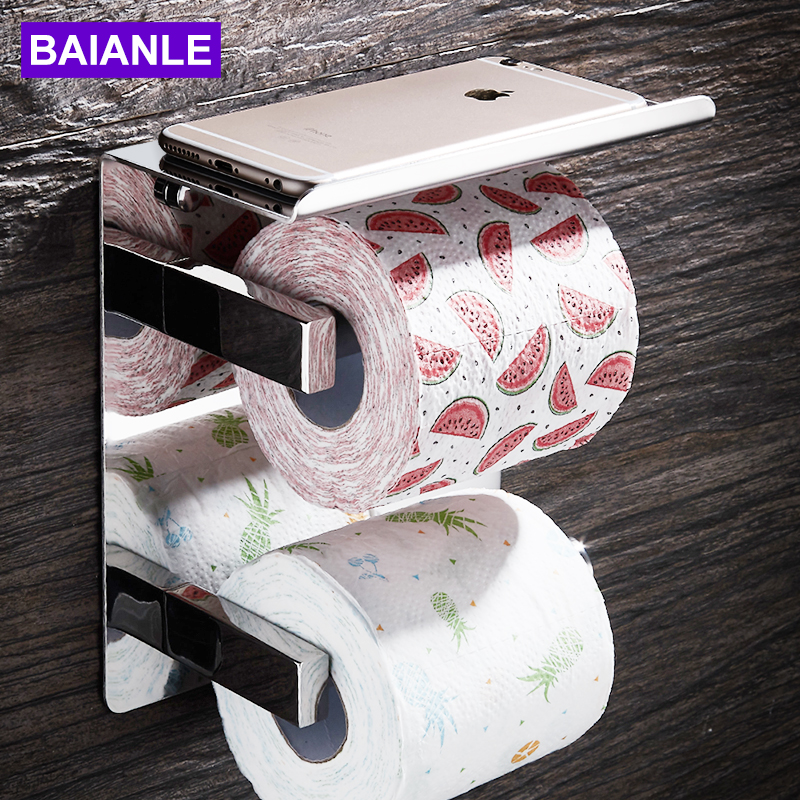 BAIANLE Bathroom Toilet Paper Holder Stainless Steel Wall Mounted Double Layer Roll Paper Rack Mobile Phone Paper Towel Holder