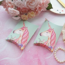 10pcs Mint Green Pink Unicorn Design Candy Box As Small Gift Cookie Sweet Packaging Wedding Favors Baby Shower Birthday DIY Use