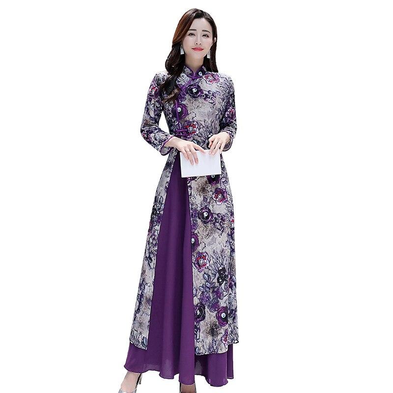 761e110e0 2019 primavera nueva mujer Vestido de moda Slim viento nacional Cheongsam  Vestido púrpura de alta calidad más elegante tamaño señoras Vestido 4XL