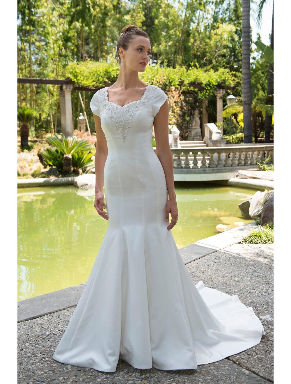 Vestido De Noiva Mermaid Modest Wedding Dresses 2019 With Cap
