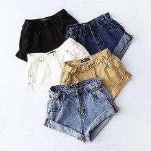 NiceMix Vintage black Khaki cotton denim shorts women elastic high waist Summer casual hot slim jean clothing 2019