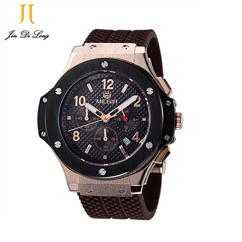 2 *# Male Date Chronograph Watches Men Silicone Strap Big Face Waterproof Sport Watch Casual Army Military Wristwatch Boys 2017 men army watch military male quartz watches fabric canvas strap casual cool men s sport round dial relojes hot sale wristwatch