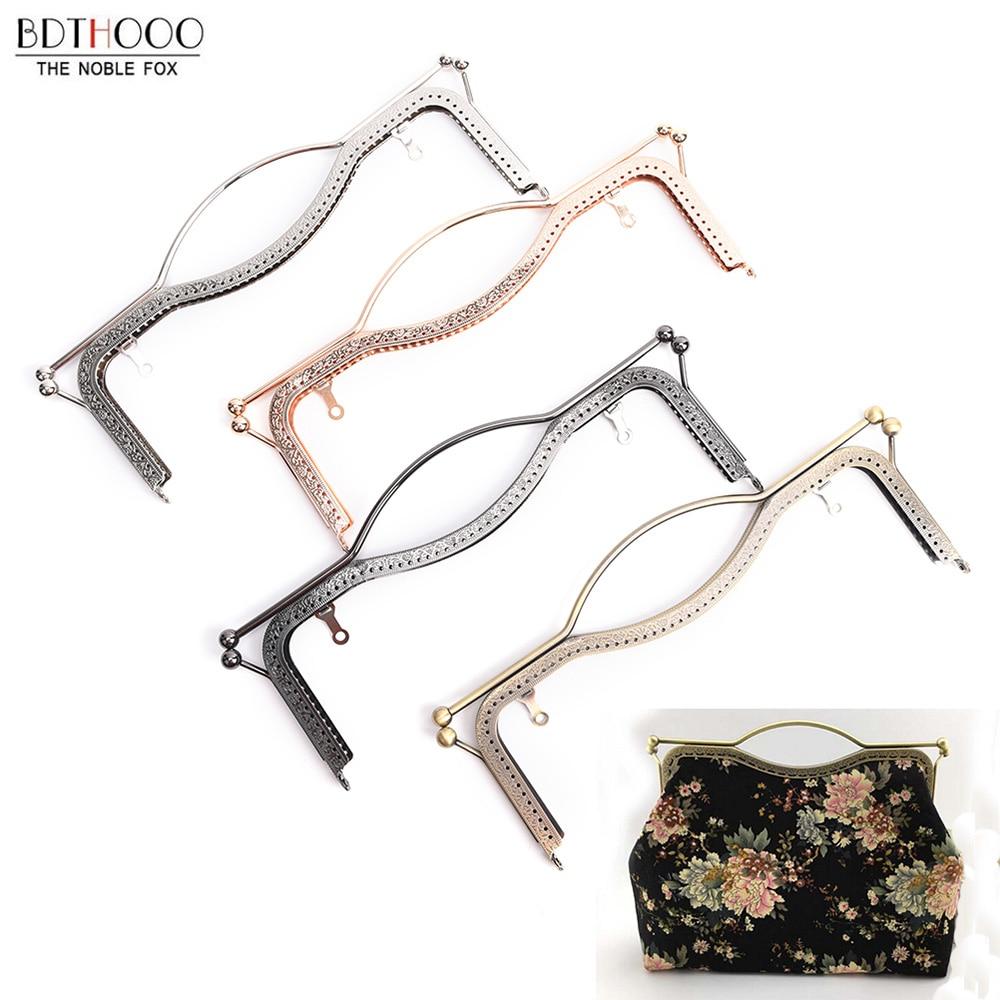 27cm Metal Purse Frame Handle DIY Kiss Lips Clasp Lock For Women Clutch Handmade Handbag Hardware Antique Bronze Bag Accessories