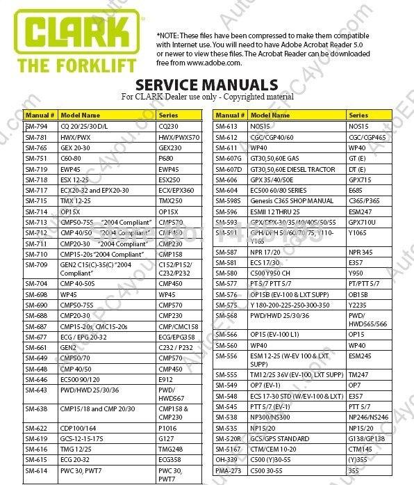 clark service manual 2014 a352