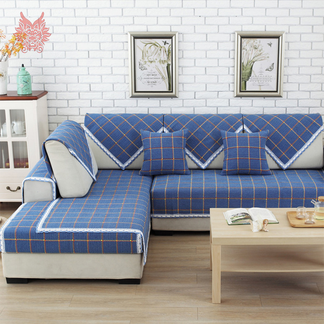 europe style blue plaid polyester cotton sofa cover lace decor cotton slipcovers canape geometric slipcover home - Plaid Canape