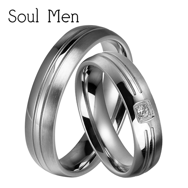 Soul Men 1 Pair His and Hers Promised Marriage Rings Set 5mm Silver Titanium Steel Wedding Band for Male Female with CZ
