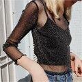 Стильный Тонкий женский Футболка harajuku тис топ Tumblr camisetas mujer Футболки Футболки Женщин Прозрачные Пуловеры Уличная