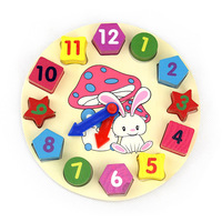 Building Blocks Toy Colorful Shape Of Wooden Clock Digital Geometry Clock For Children Baby Kid Education
