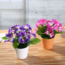 Home Office Ornament Pansy Bonsai (with Plastic Pots) Simulates Artificial Silk Flowers Potted Plants