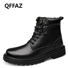 QFFAZ Genuine Leather Ankle Boots For Male Boots Men Bootswinter black leather shoes Plush Black Lace Up Big Size 38-50