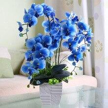 Moda orquídea flores artificiais, moda orquídea flores artificiais diy buquê de noivados decoração para casa