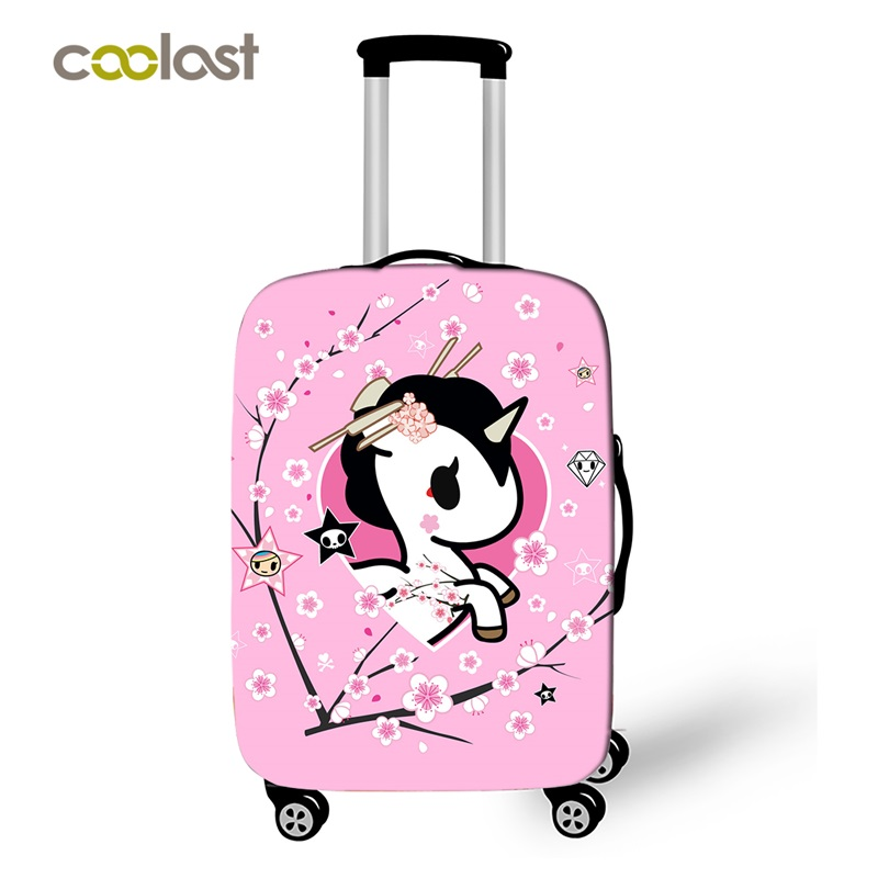 Cartoon Unicorn Thick Elastic Luggage Protective Covers Pink Princess Suitcase Cover Little Pony Travel Baggage Protect Cover