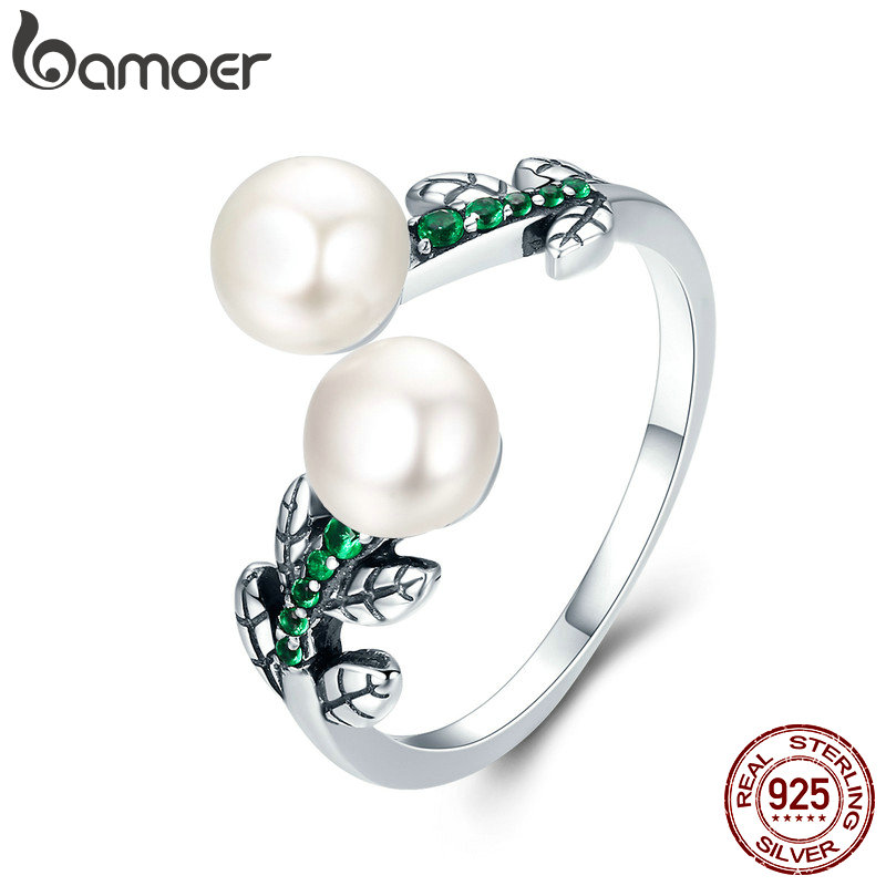 BAMOER Hot Sale 100% 925 Sterling Silver Glittering Tree of Life Tree Leaves Female Ring Engagement Jewelry Adjustable SCR250 stylish adjustable tree of life layered wrap necklace
