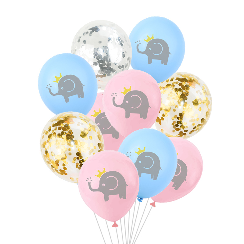5pcs 12inch Elephant Latex Balloon Blue Pink Air Confetti Balloon For Children Birthday Jungle Party Wedding Baby Shower Decor