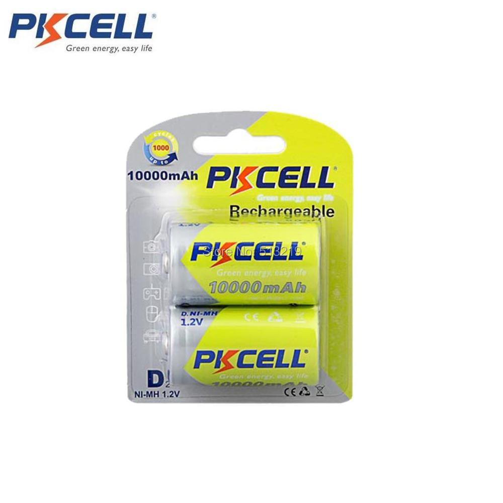 2Pc/Card PKCELL Ni-MH 1.2V 10000mAh Size D Rechargeable <font><b>Battery</b></font> AM-1 LR20 D MN1300 <font><b>R20</b></font> R20P for garbage can,Electric razor. image
