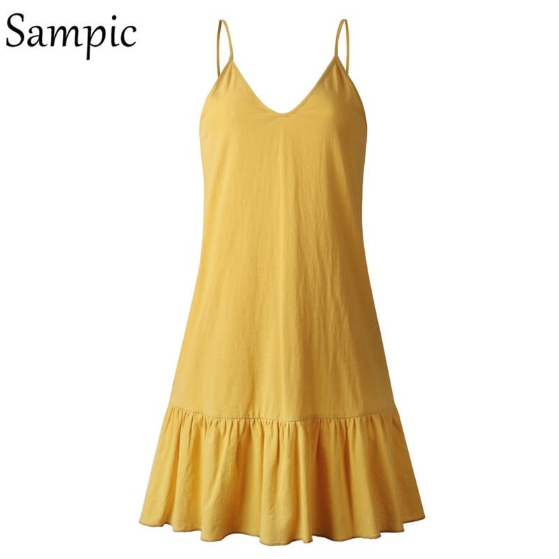 Sampic Backless Sundress Women Mini Dress Ruffle Spaghetti Strap Casual White Linen Dress Sleeveless Beach Summer Dresses 2019 3