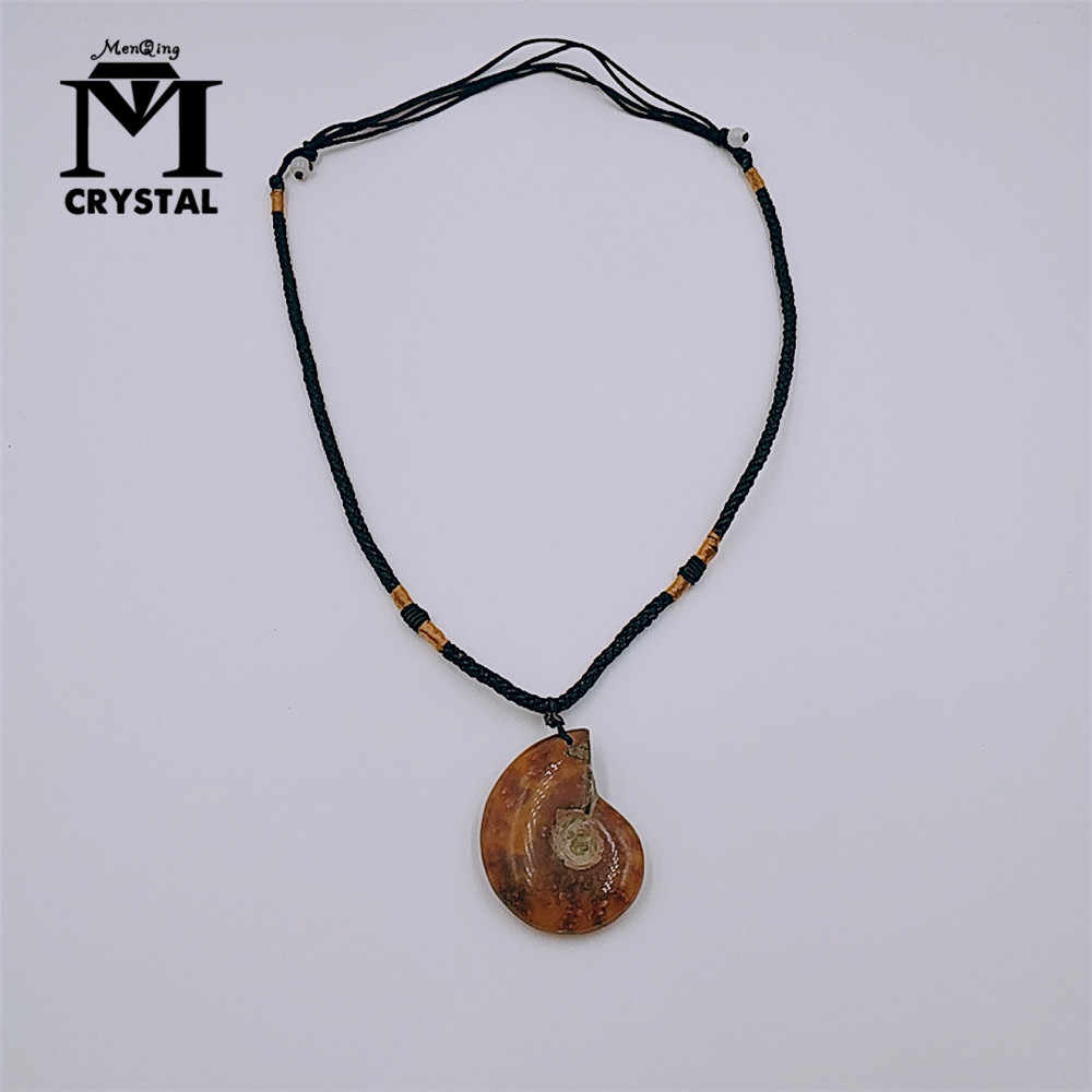 天然石アンモナイト化石貝殻カタツムリペンダント海 Reliquiae 巻き貝動物ネックレス声明男性ジュエリー