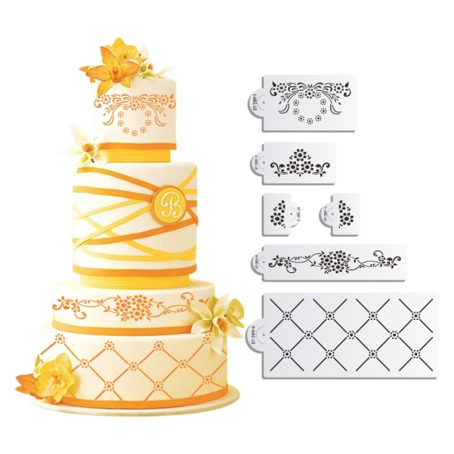 Aliexpress.com : Buy 6pcs/set Daisy Lattice Cake Stencil Set Design ...
