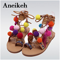 Bohemia Estilo Franjas Pompons Lady Gladiator Sandals Cross Strap tie up Mulheres Flats Sandálias Com Franjas Verão sapatos size35-41
