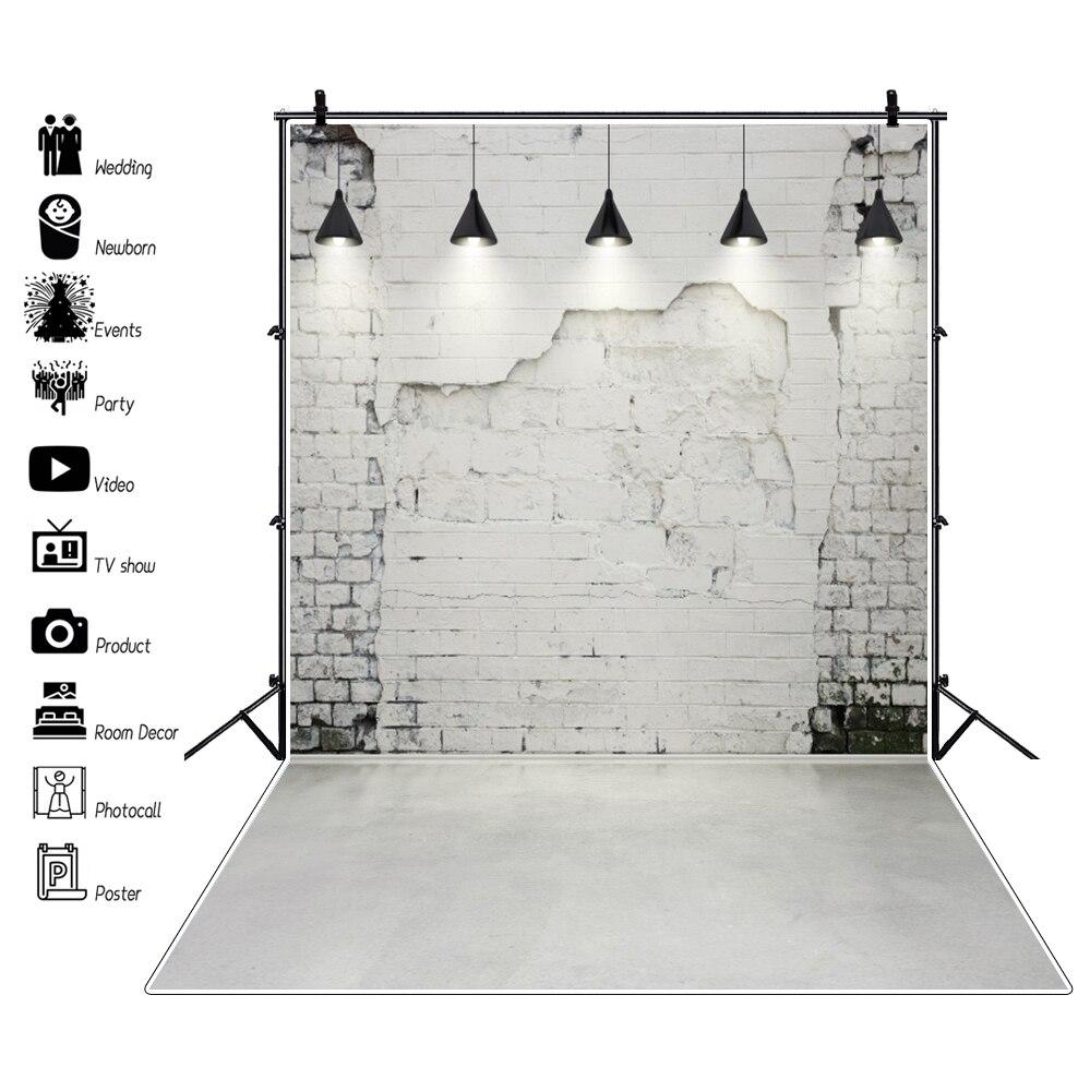 Серые фоны для фотосъемки с изображением кирпичной стены с лампочками для вечеринки портретной детской куклы интерьера фоны для фотосъемк...