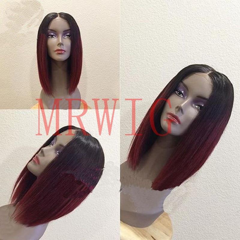 MRWIG κοντή bob ευθεία 1b # ombre μπορντό 12inch - Συνθετικά μαλλιά - Φωτογραφία 1