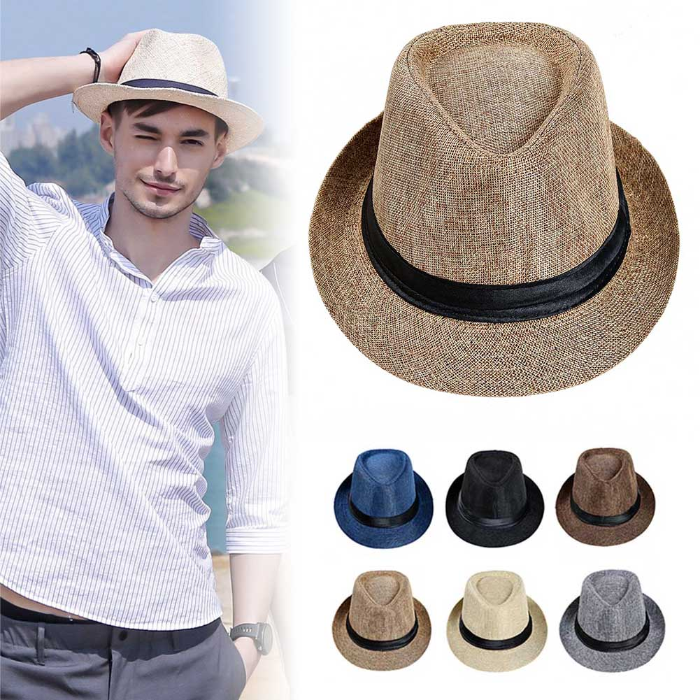 Men Straw Hat Linen Sun Protective Foldable Breathable Casual Cap For Summer HSJ88