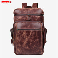 New genuine leather men backpack computer shoulder bag handmade retro brown leather large capacity travel backpacks laptop bags