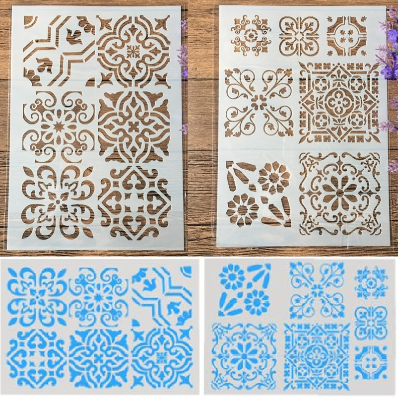 2Pcs A4 Square Frame Texture DIY Craft Layering Stencils Painting Scrapbooking Stamping Embossing Album Paper Template