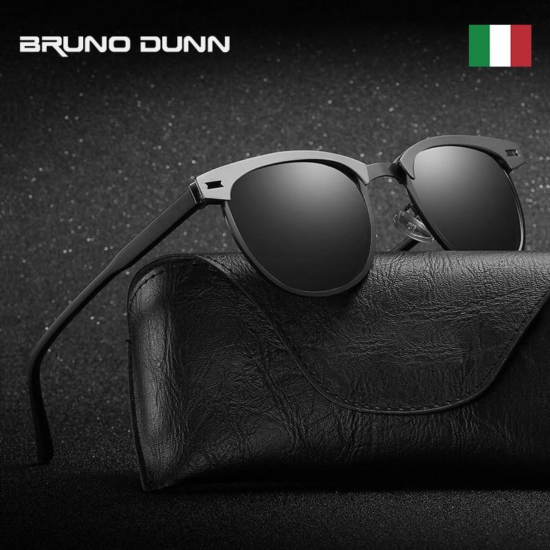Bruno dunn design da marca retro óculos de sol alumínio polarizado masculino óculos de sol para homem/mulher ray lunette de soleil homme femme 2018